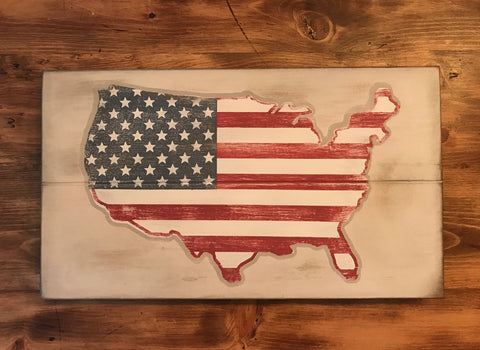 Weathered American Flag Sign