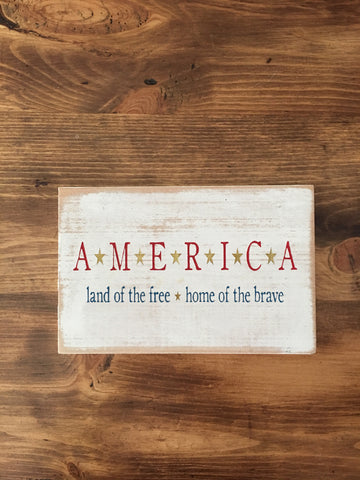 America - Land of the Free - Home of the Brave Sign