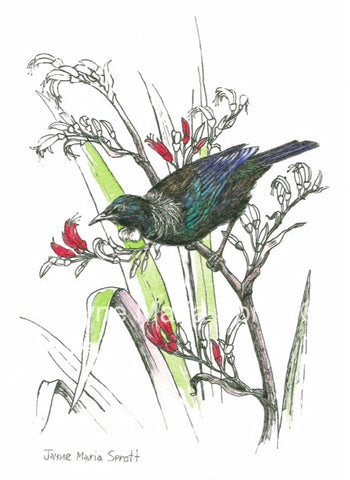 Handpainted NZ Native Bird Tui