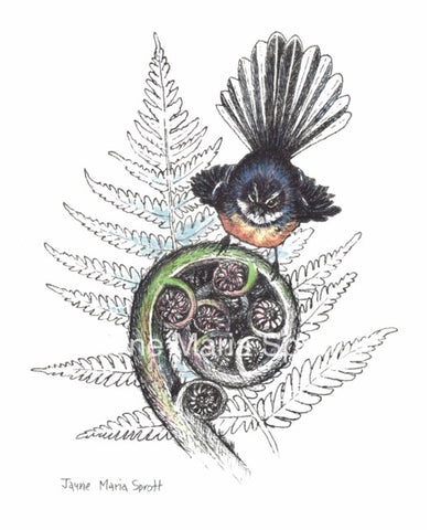 Handpainted NZ Native Fantail print