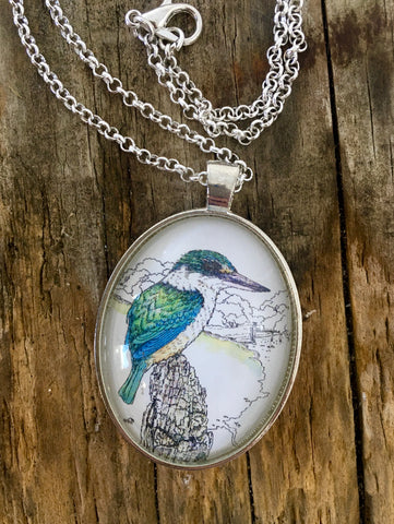Jewellery - New Zealand  Kingfisher (Kotare) Pendant
