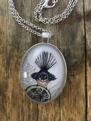 Jewellery - New Zealand Fantail (Piwakawaka) Pendant