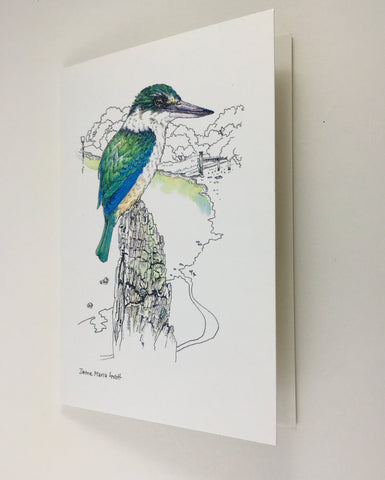 Card, NZ native Kingfisher(Kotare)