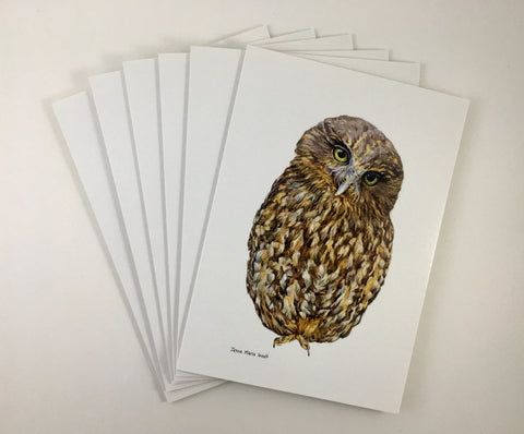 Cards, Set of 6 'Ruru' NZ's Native Owl.
