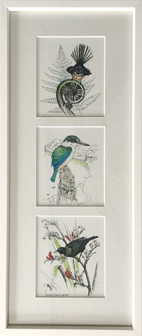 Triple Upright Mount Framed - NZ Native Birds