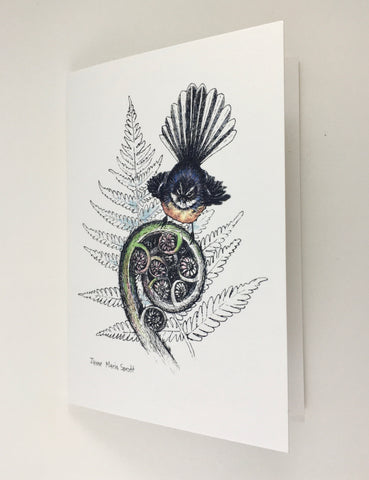Card, NZ native Fantail (Piwakawaka)