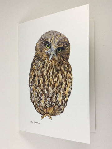 Card, NZ native owl, Morepork (Ruru)