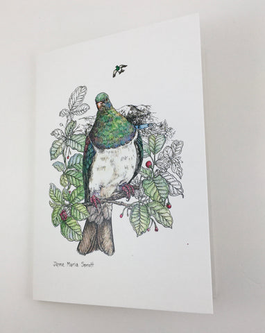 Card, NZ native woodpigeon, Kereru