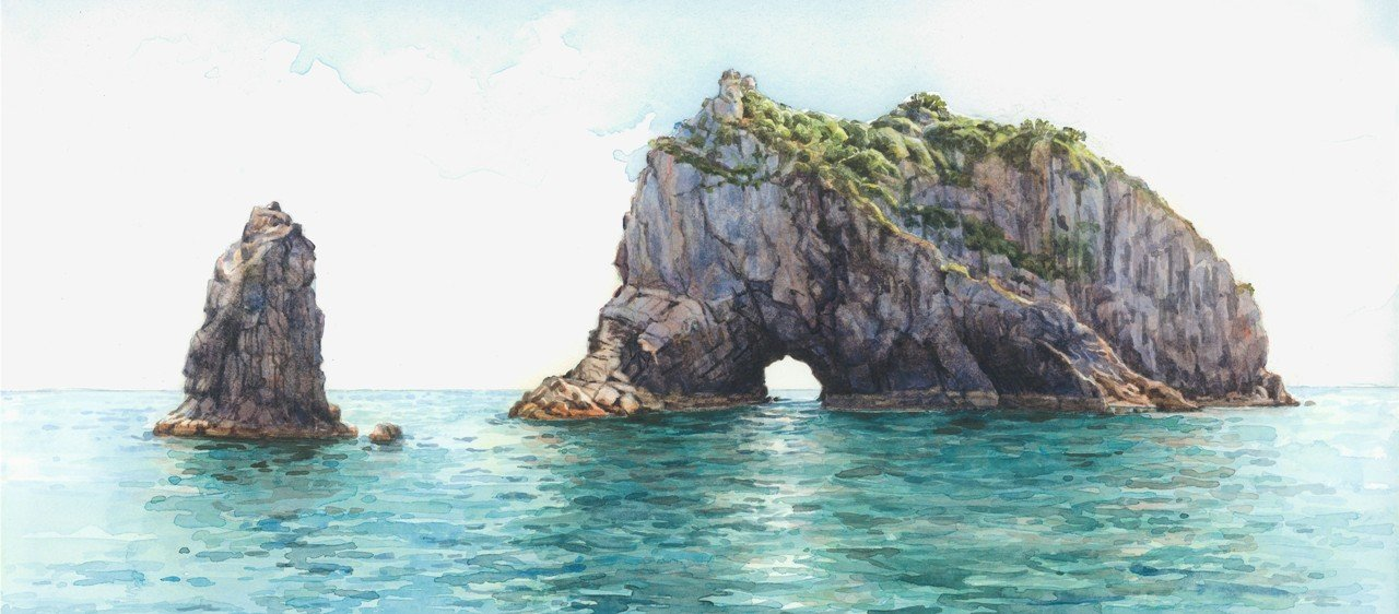 Hole in the Rock, Paihia, watercolours