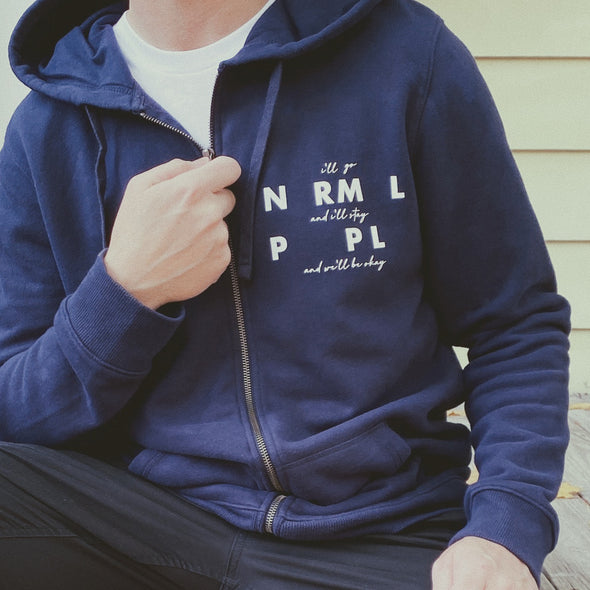 Normal People I'll Go And I'll Stay And We'll Be Okay Full Zip Hooded Sweatshirt - Navy