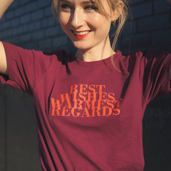 Schitt's Creek Best Wishes Warmest Regards Tee - Maroon
