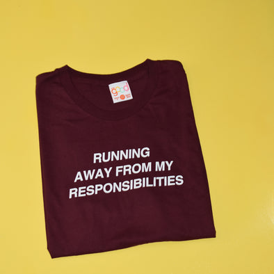 The Office Running Away From My Responsibilities Tee - Maroon