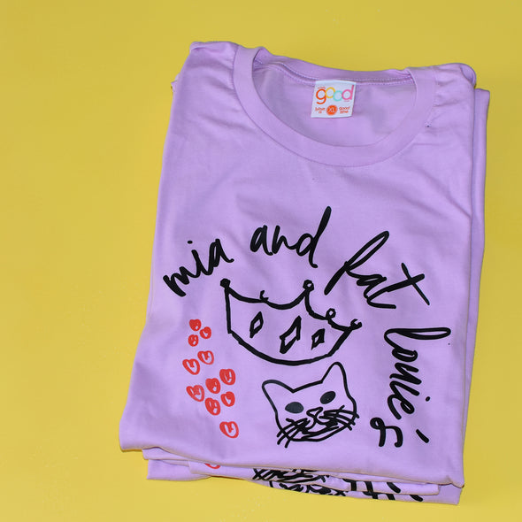 The Princess Diaries Mia and Fat Louie's Tee - Purple