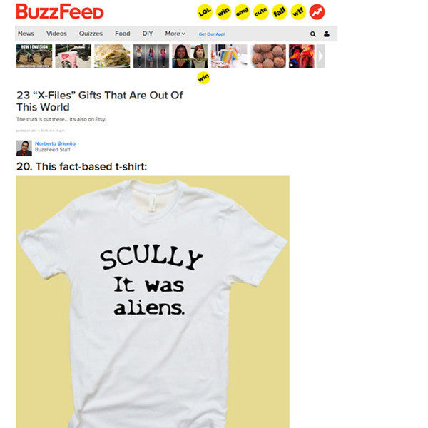 The X Files Scully It Was Aliens Tee - Totally Good Time