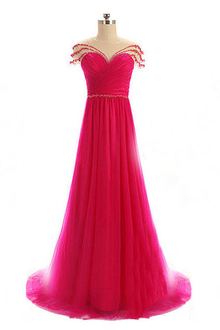 Sexy A line Beading Prom Dresses,Tulle Prom Dress,Long Evening Dress N40