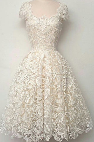 Cap Sleeves Ivory Lace Short Prom Dress Homecoming Dresses ED00