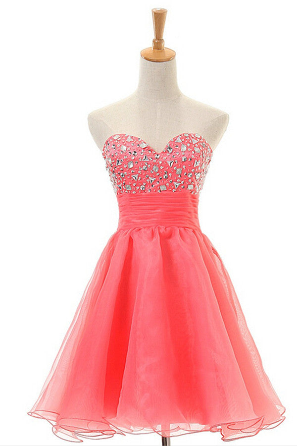 Sleeveless Sweetheart Red Prom Dress Homecoming Dress ED03