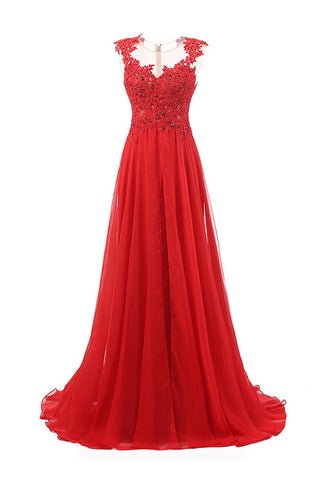 Sweep Train Chiffon Sleeveless Red Prom Dresses Evening Dress S01