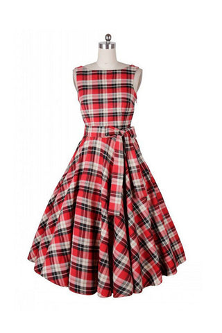 Vintage Scoop Neck Plaid Dress For Women SD08