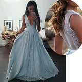 A-line Sleeveless Deep V-neck Long Prom Dresses,Light Blue Formal Dress with Lace,N86