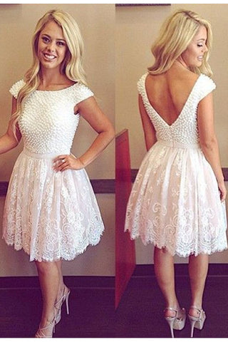 Lace Strap Scoop Bead Prom Dress Homecoming Dresses ED08