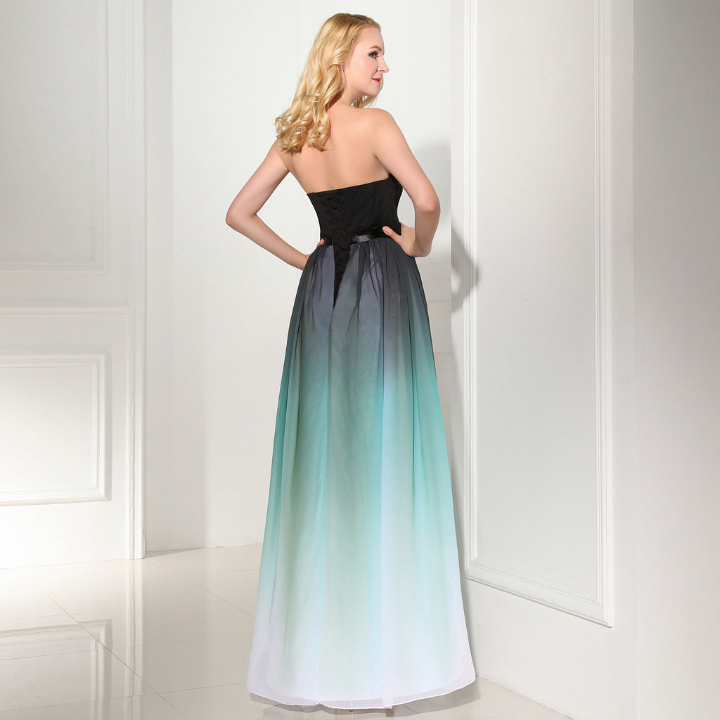 Custom Made Ombre A-Line Chiffon Long Prom Dress 02