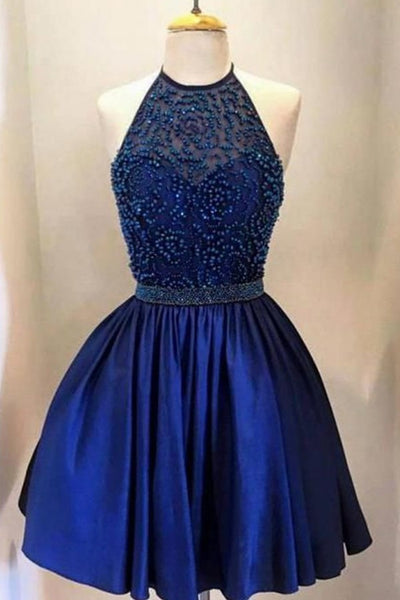 Royal Blue Short Prom Dress,Beading Halter Short Prom Dress,Backless Satin Homecoming Dress,Cocktail Dress,ED17