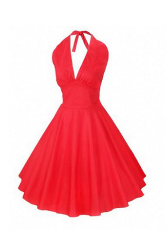 1950's Hepburn Vintage Backless Flare Woman Dress SD13