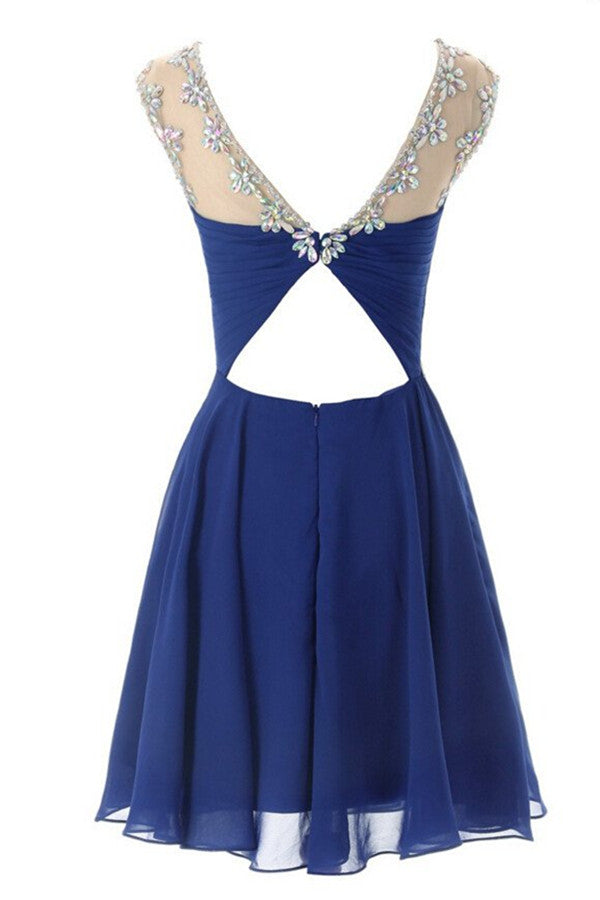 Charming Royal Bule Chiffon Prom Dress Homecoming Dress ED16