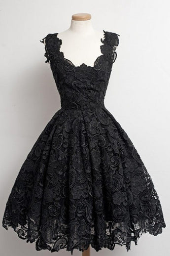 Black Lace Strap Prom Dress Homecoming Dress ED20