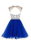 Bridal Beaded Backless Tulle Short Prom Dress Homecoming Dress ED19