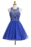 Royal Blue Organza Scoop Short Homecoming Dresses ED27