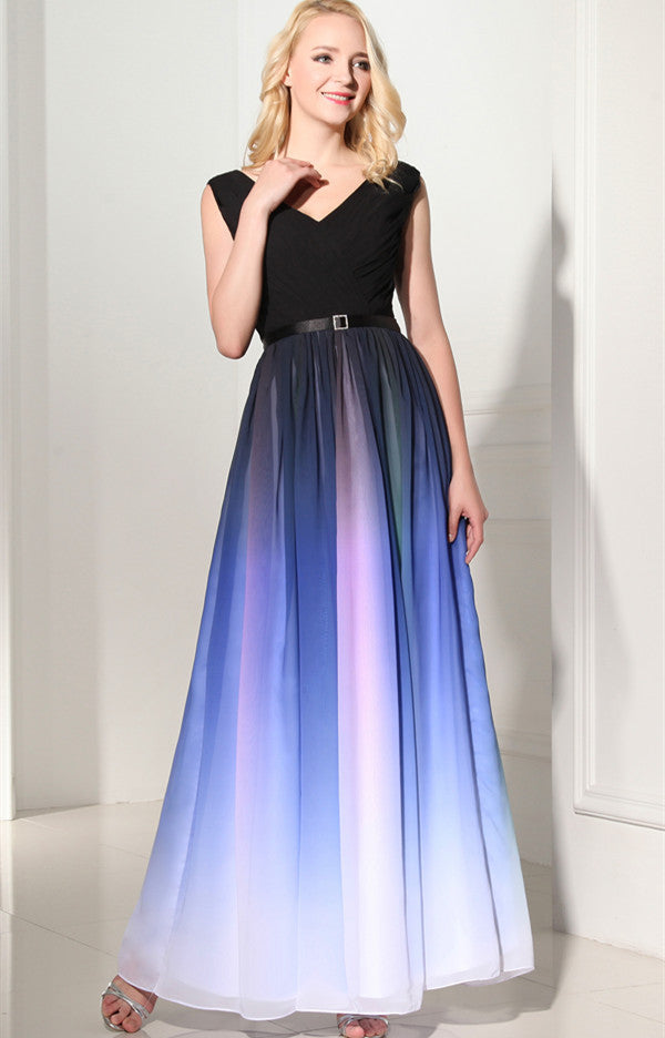 Ombre Custom Made Long Charming Chiffon Prom Dress 06