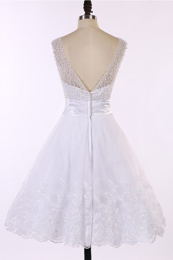 V-neck Ivory Lace Prom Dress Homecoming Dresses ED10