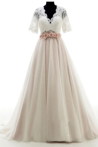 V-neck Court Train Lace Beading Wedding Dresses,Short Sleeves Prom Dress