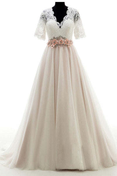 V-neck Court Train Lace  Beading Wedding Dresses