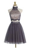 Two piece High Neck Gray Beading Homecoming Dresses ED28