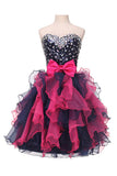 Sweetheart Organza Beaded  Homecoming Dresses With Ruffles