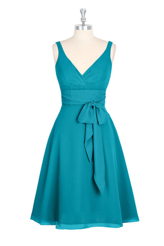 A-line V-neck Chiffon Turquoise Homecoming Dresses ED29