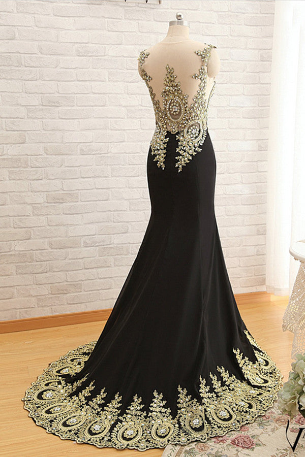 Mermaid Satin Appliques Beading Prom Dresses Evening Dress S03