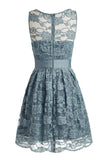 Knee-length Lace Sleeveless Blue Prom/Homecoming Dress ED34