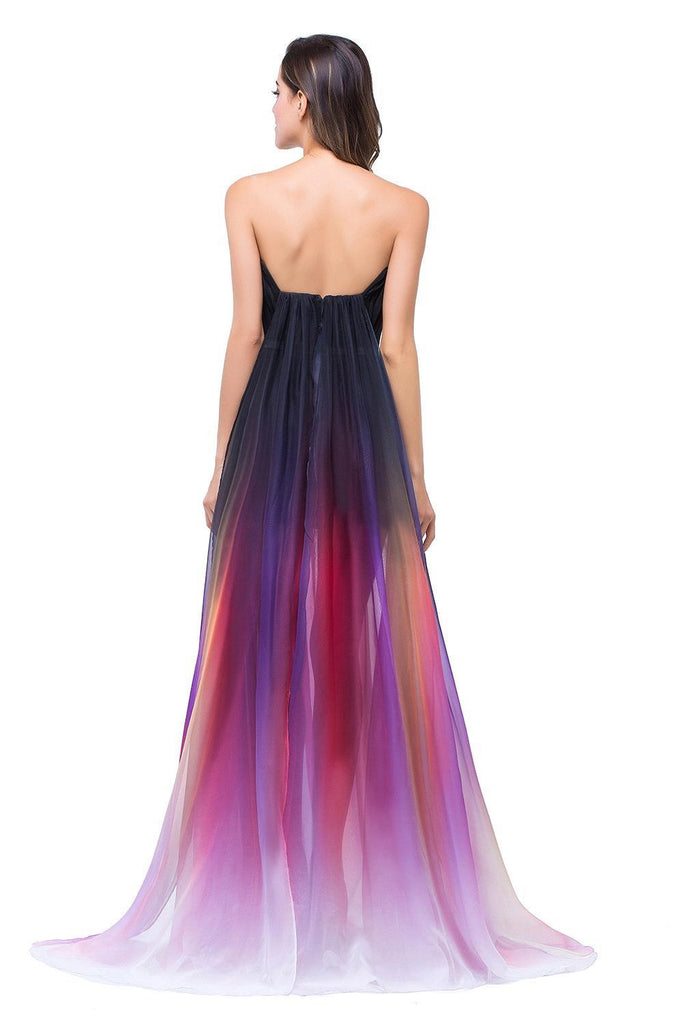 A-line Ombre Notched Backless Long Gradient Chiffon Modest Prom Dresses SM2