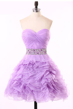 Crystal Ruched Purple Organza Prom Dresses Homecoming Dress ED35