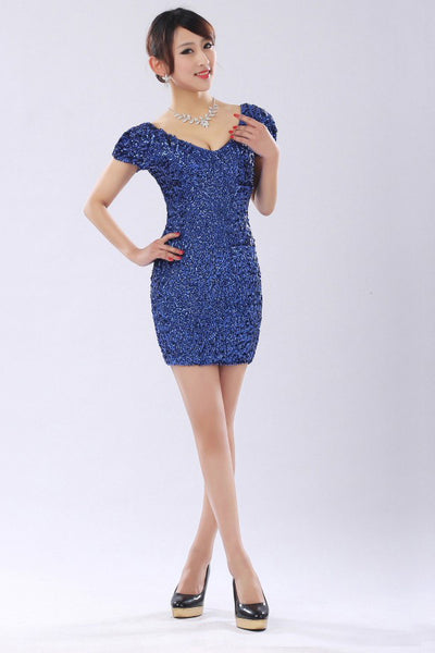 Sequins Short Cap Sleeves Prom Dresses Homecoming Dress ED36