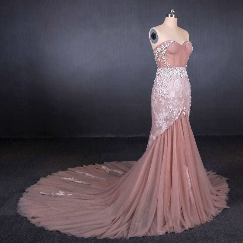 Gorgeous Sweetheart Mermaid Tulle Prom Dress, Long Evening Dresses N2343