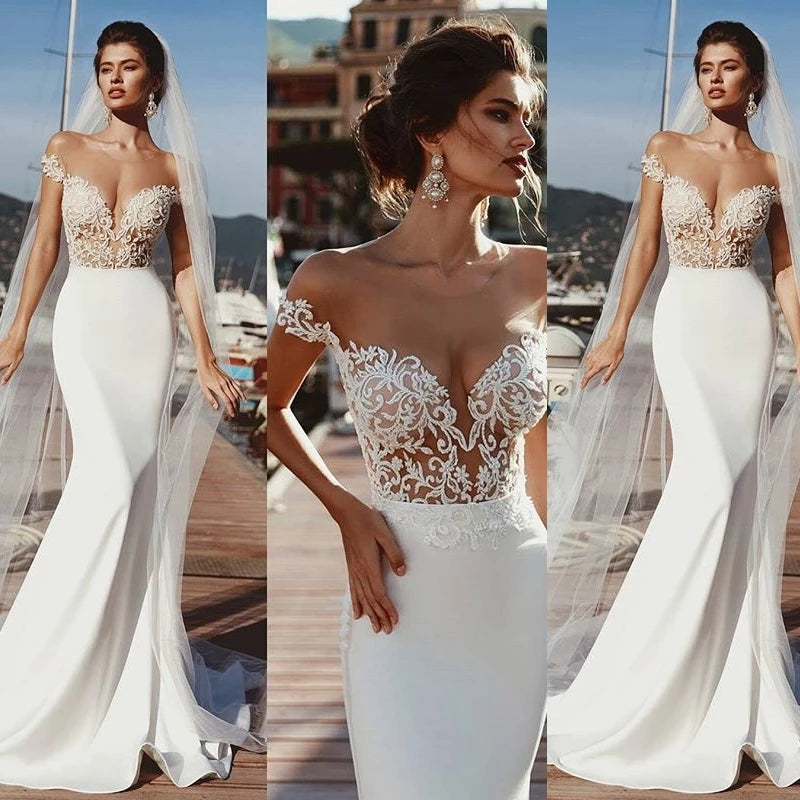 Mermaid Short Sleeves Sheer Neck Long Wedding Dress, Long Lace Appliques Bridal Dress N2241