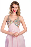 Floor-length Pink Chiffon V-neck Prom Dresses Homecoming Dress ED37