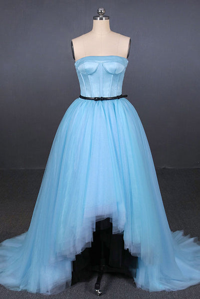 Light Blue High Low Strapless Tulle Prom Dresses, Hi-Lo Tulle Evening Dresses N2340