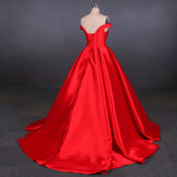 Puffy Off the Shoulder Red Satin Prom Dress, A Line Party Dress with Belt N2342