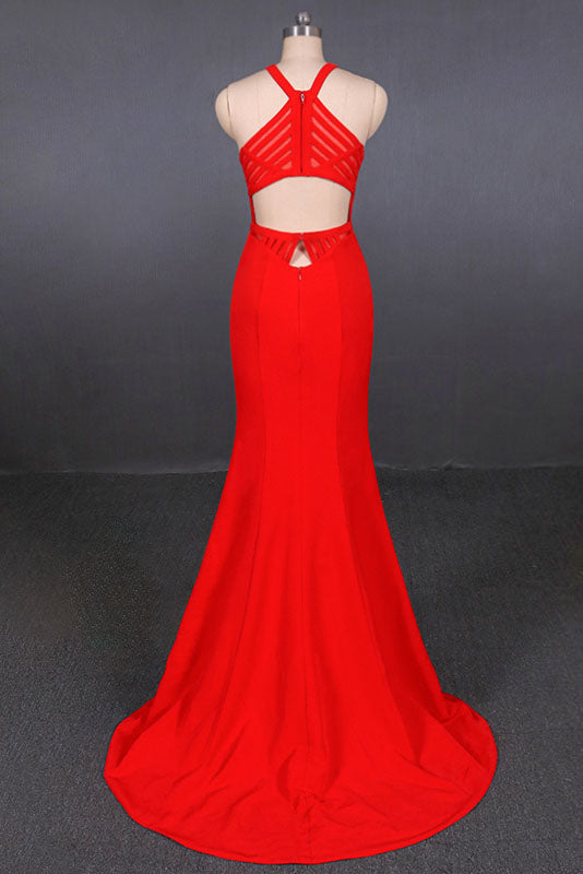 Stylish Halter Mermaid Prom Dress, Red Mermaid Open Back Long Evening Dresses N2341